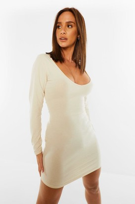 boohoo V Neck Long Sleeve Bodycon Mini Dress