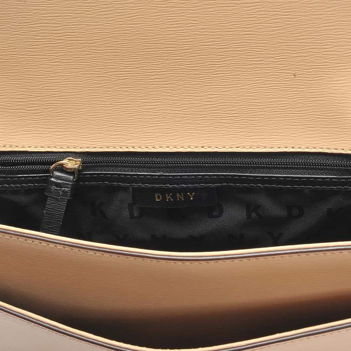 DKNY Bryant Large Chain Flap Crossbody Bag in Egg Nog Sutton Textured Leather