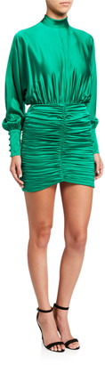 retrofete Barbara Ruched Satin High-Neck Dress