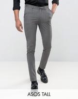 Asos Tall Super Skinny Suit Trousers In Salt & Pepper