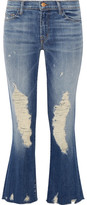 J Brand Selena Distressed Cropped Mid-rise Bootcut Jeans - Mid denim