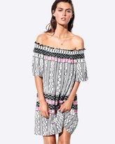Seafolly Embroidered Print Off-Shoulder Dress