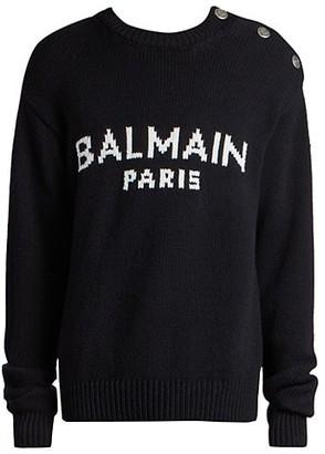 Balmain Oversized Logo Intarsia Pullover
