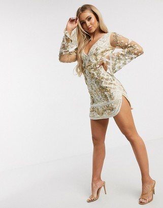 A Star Is Born embellished mini dress with curved hem in white and gold