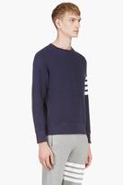 Thom Browne Navy Crewneck Racer Stripe Sweatshirt