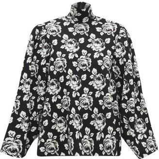 Balenciaga High-neck Wool-blend Floral-jacquard Sweater - Black White