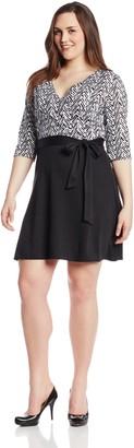 Star Vixen Women's Plus-Size Print Top Solid Skirt Wrap Dress