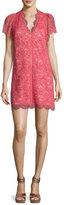Rebecca Taylor Short-Sleeve V-Neck Lace Mini Dress