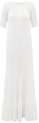 Maison Rabih Kayrouz Raglan-sleeve Ribbed Maxi Dress - White