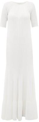 Maison Rabih Kayrouz Raglan-sleeve Ribbed Maxi Dress - White