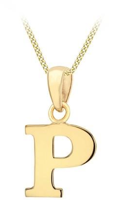 Love Gold 9ct Gold Plain Initial Pendant Pendant Necklace