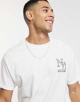 New Look oversized t-shirt with New York print in white