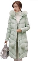 YMING Womens Down Cotton Hooded Jacket Long Thick Coat S