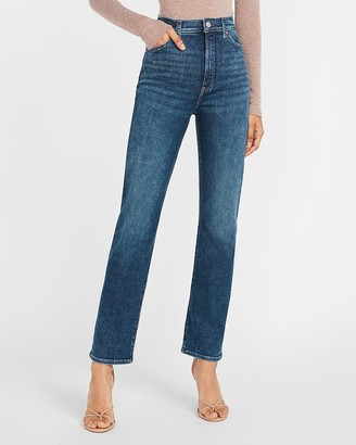 Express Super High Waisted Faded Modern Straight Jeans