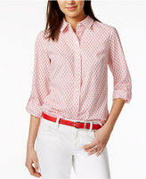 Tommy Hilfiger Cotton Printed Roll-Tab Shirt, Only at Macy's