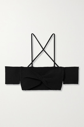 Jacquemus Soleil Cropped Off-the-shoulder Ribbed Cotton-blend Top - Black