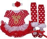 Starkma Baby Girl's 4PCs First Birthday Reindeer Tutu Dress, S