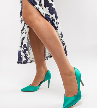 Asos DESIGN Wide Fit Purley high heeled pumps in emerald green