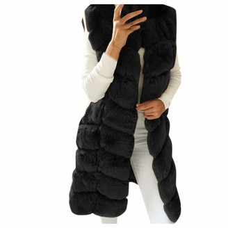 Kalorywee Coats KaloryWee Womens Faux Fur Vest Ladies Sleeveless Hoodie Shaggy Open Front Cardigan Vest Jacket Long Coat Outwear Black