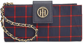 Tommy Hilfiger Plaid Nylon Chain Wristlet Wallet