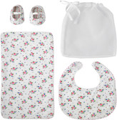 Cath Kidston Hankie Rose Bib, Burping Cloth And Bootie