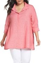 Foxcroft Plus Size Women's Linen Chambray Tunic
