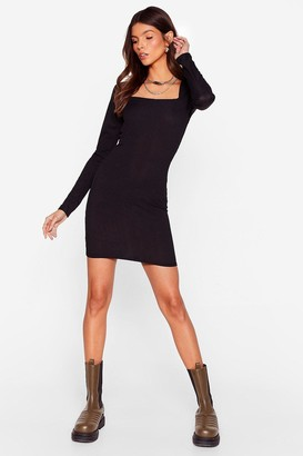 Nasty Gal Womens At Your Square Neck and Call Ribbed Mini Dress - Black - 4, Black