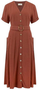 Sugarhill Boutique Cassidy Linen Midi Dress Rust - 10