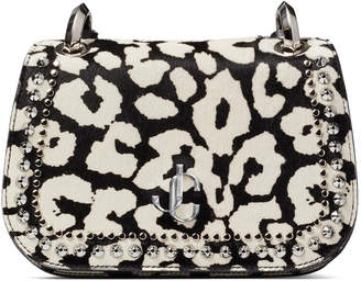 Jimmy Choo VARENNE CROSSBODY/S Black and White Animal Print Pony Cross Body Bag