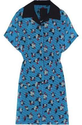Anna Sui Printed Fil Coupe Chiffon Mini Shirt Dress