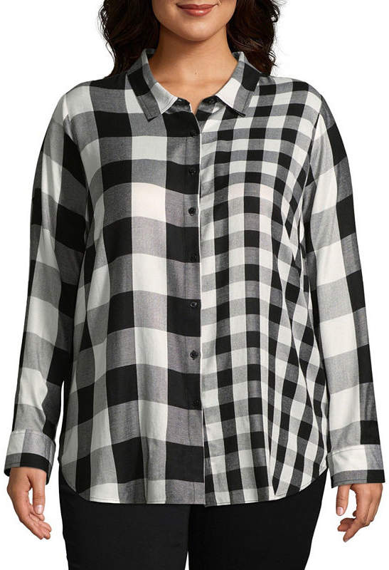 + + Mixed Buffalo Plaid Button-Front Shirt - Plus