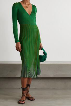 DIANE VON FURSTENBERG - Dara Ribbed-knit Midi Wrap Dress - Green
