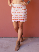 West Coast Wardrobe Desert Sunset Crochet Stripe Mini Skirt in Pink-Ivory Stripe