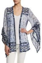 Calypso St. Barth Amantha Open-Front Printed Jacket, Coconut