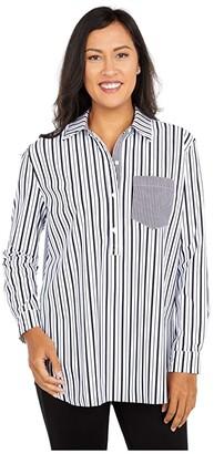 Lysse Fashion Microfiber Delancey Top (Optic Stripe White Mix) Women's Clothing