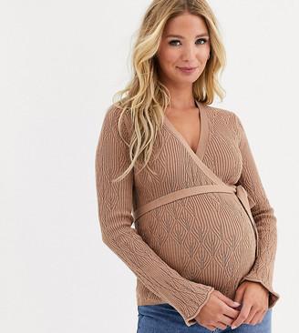 ASOS DESIGN Maternity pointelle wrap sweater