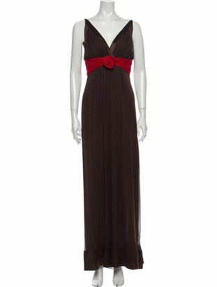 Oscar de la Renta Silk Long Dress Brown