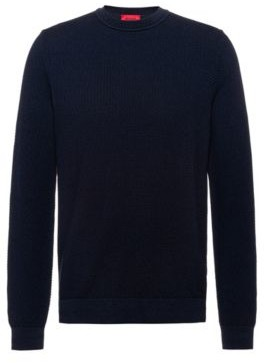 HUGO BOSS Patterned Sweater In Jacquard Knitted Cotton - Dark Blue