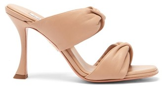 Aquazzura Twist Square-toe Leather Mules - Nude