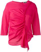 Hache ruffled detail blouse - women - Cotton/Cork - 42