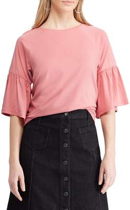 Chaps Petite Flutter-Sleeve Cotton Top