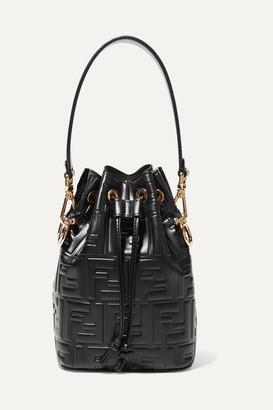 Fendi Mon Tresor Small Embossed Leather Bucket Bag - Black