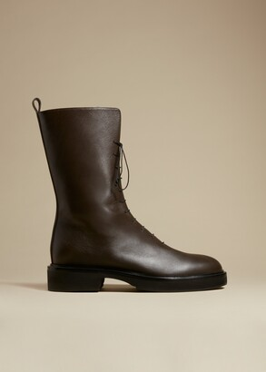 KHAITE The Conley Boot in Dark Brown Leather