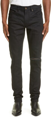 Saint Laurent Ripped Black Skinny Fit Jeans