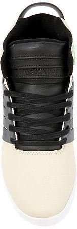 Supra The Skytop III Sneaker in Cream Waxed Twill, Black and Neon Green