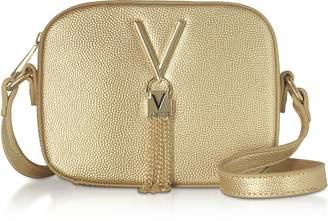 Mario Valentino Valentino By Gold Lizard Embossed Eco Leather Divina Mini Crossbody Bag