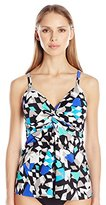 Penbrooke Women's Color Angles Twist Front Tankini
