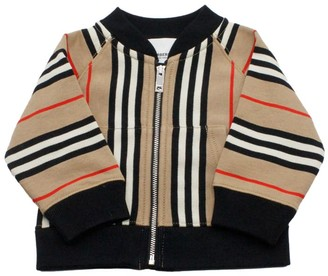 Burberry Sweatshirt With Zip With Check Stripe Motif