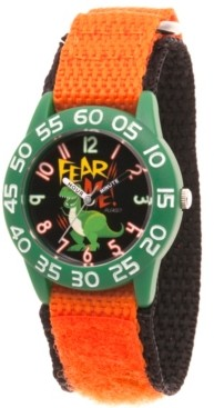 EWatchFactory Boy's Disney Toy Story 4 Rex Orange Plastic Time Teacher Strap Watch 32mm