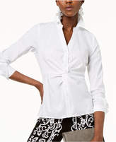 INC International Concepts I.n.c. Petite Twist-Front Button-Down Top, Created for Macy's